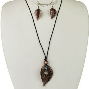 Bronze Leaf Necklace & Earring Set